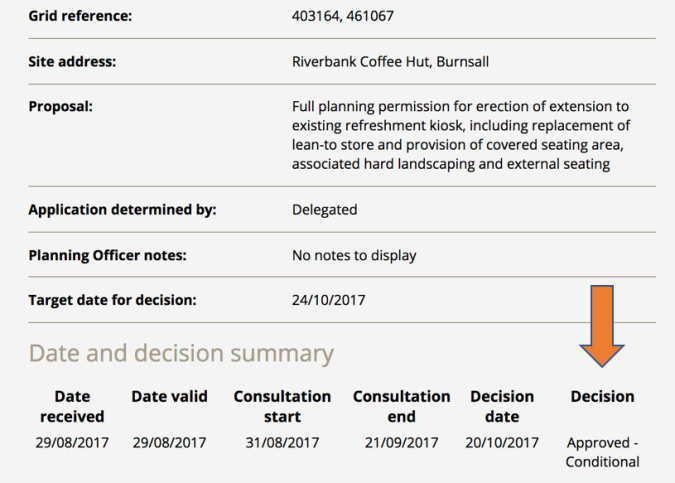 Image of a screenshot from the Yorkshire Dales National Park planning portal, showing planning permission granted for Riverbank