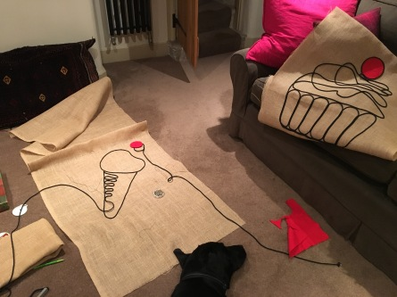 Hector helps me make flags for Riverbank!